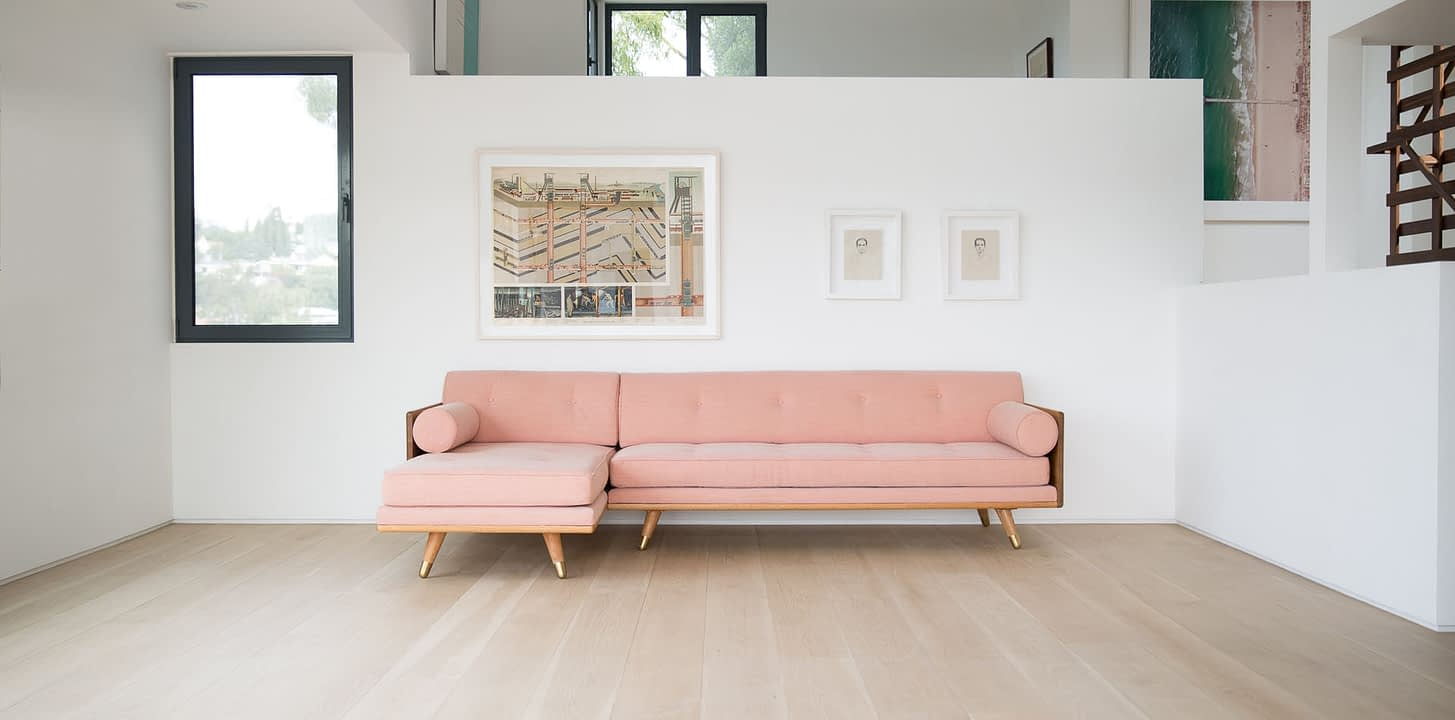 Mid Century Modern Sofa Sectional with Tufted Pink Latex Cushions