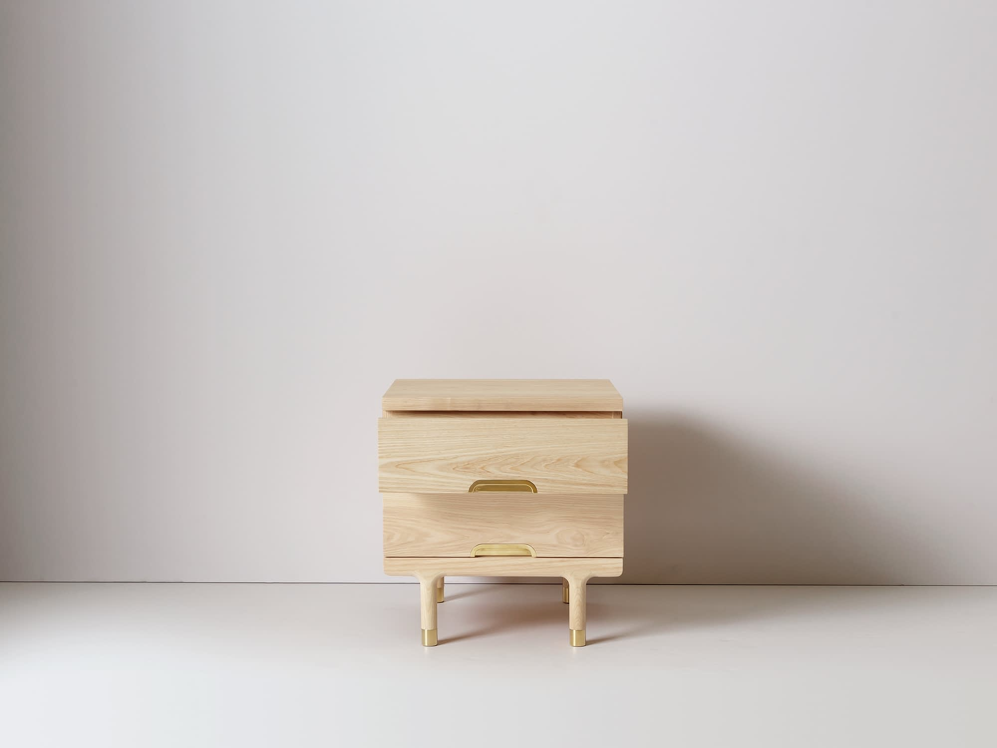 Modern Solid Wood Side Table Nightstand Drawer Open