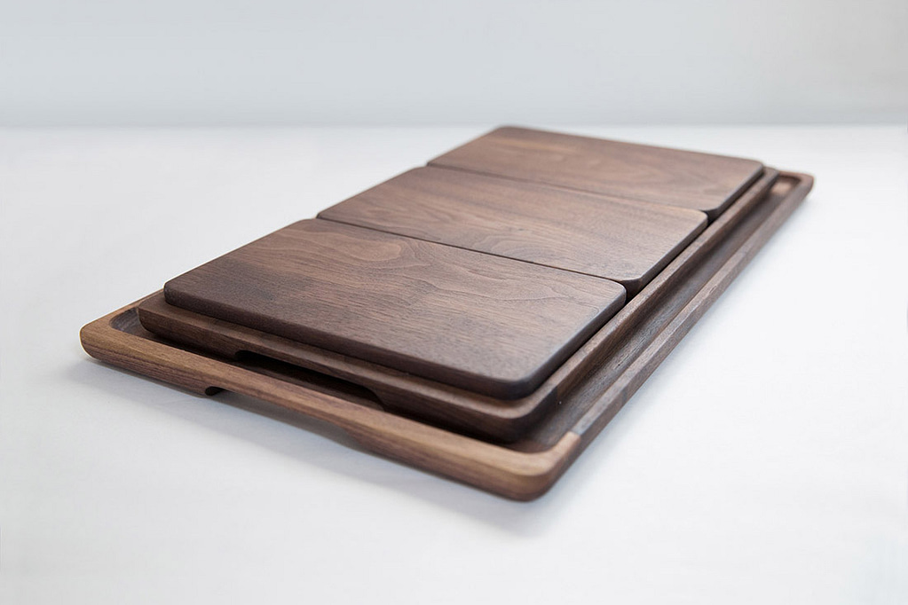 Full Set of Walnut Trays and Breadboards